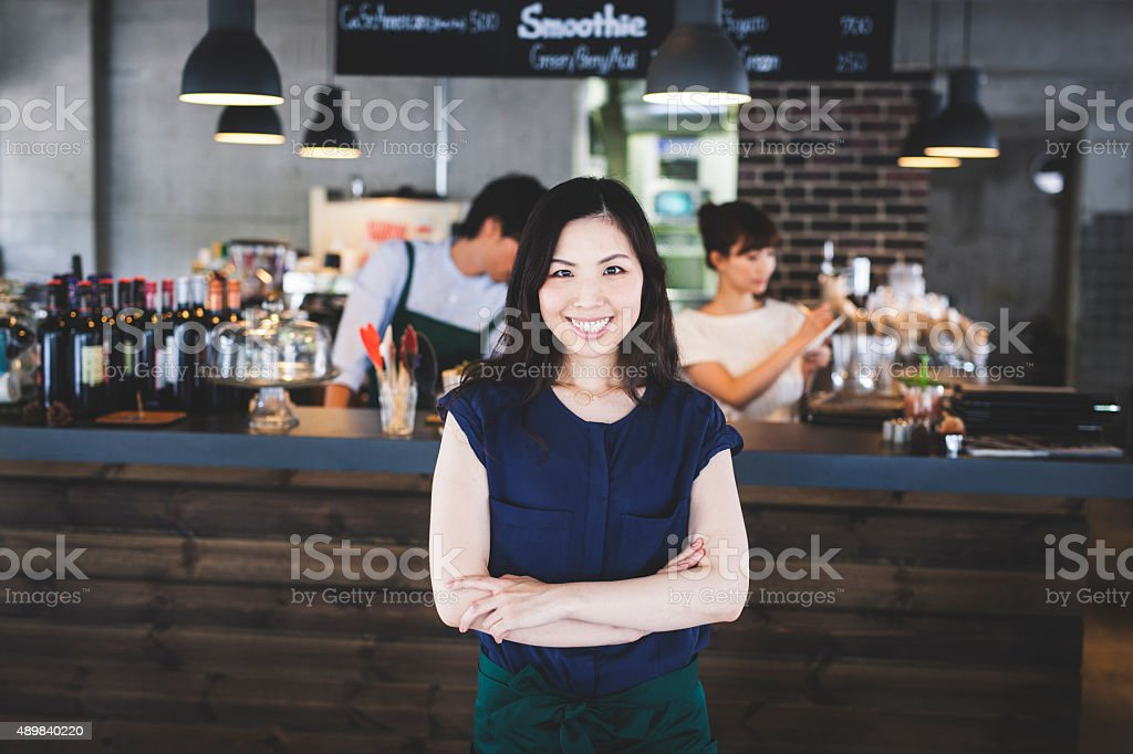 Portrait of an Asian Restaurant Manager stock photo