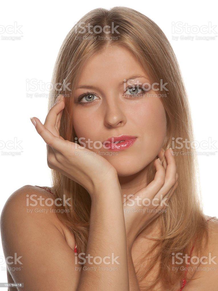Porträt von eine attraktive blonde junge Frau, isoliert auf weiss Lizenzfreies stock-foto