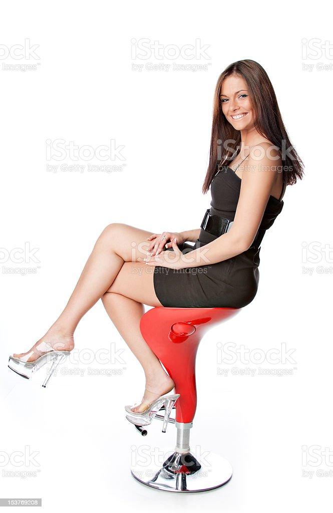 Porträt von einem attraktiven brunette Junge Frau auf weißem Hintergrund Lizenzfreies stock-foto