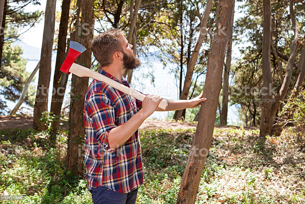 Portrait of an attractive young lumberjack stock photo