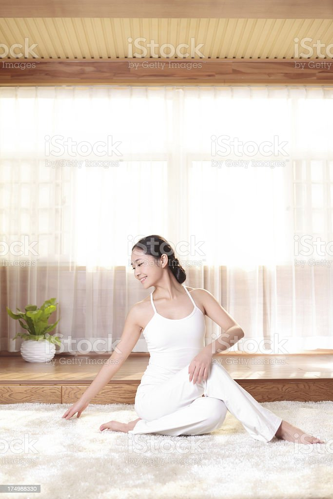 Portrait of an attractive young woman  yoga royalty-free stock photo