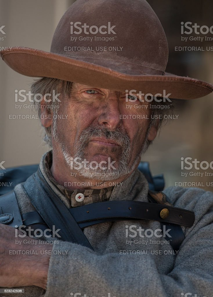 Portrait of an authentic-looking Civil War Confederate soldier reenactor stock photo