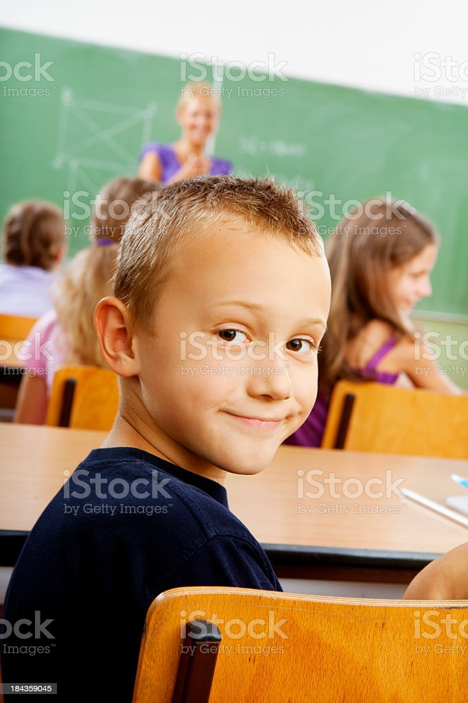 Portrait of an cute little school boy in the classroom royalty-free stock photo