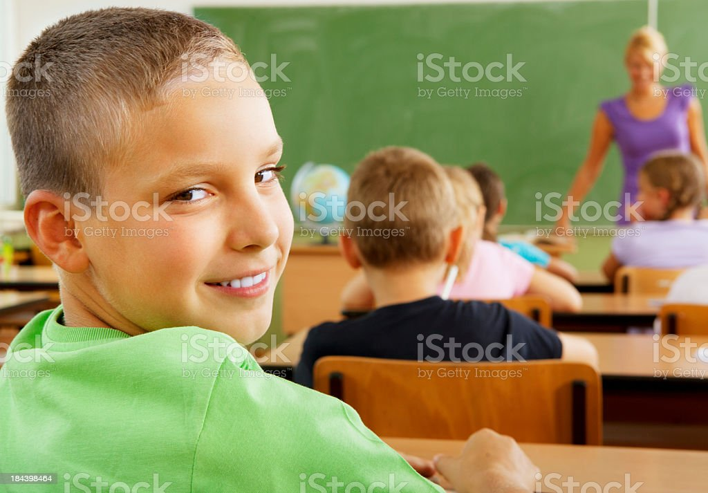 Portrait of an cute school boy in the classroom royalty-free stock photo
