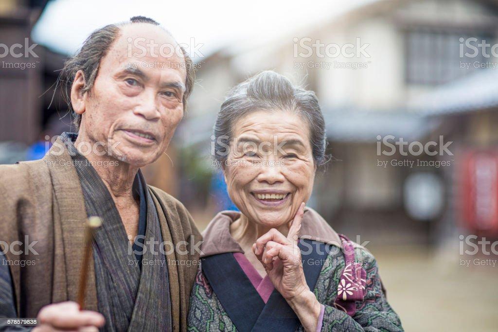 Portrait of an Edo period Japanese couple stock photo