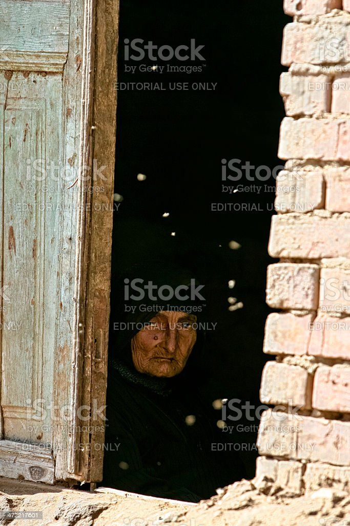 Portrait of an frail and poor woman royalty-free stock photo