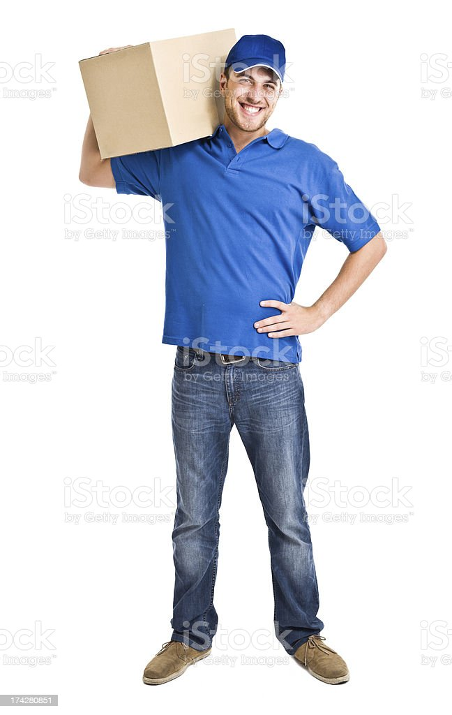 Portrait of an handsome deliverer stock photo
