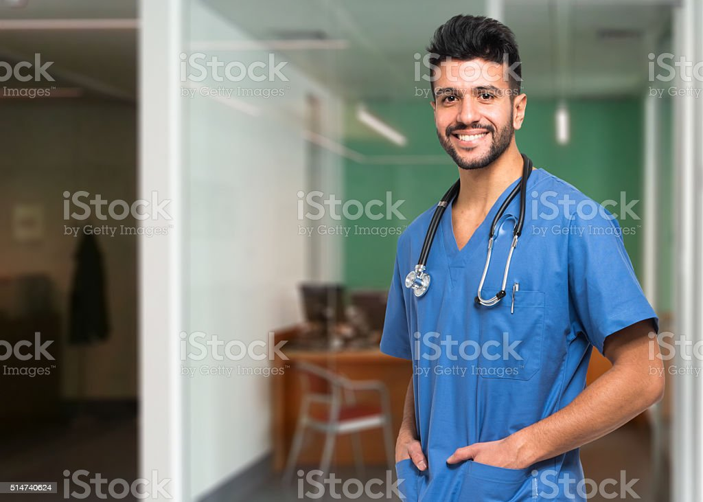 Portrait of an handsome young doctor stock photo