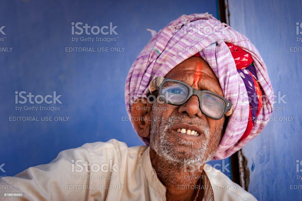 Portrait of an Indian rajasthani old man at Chaksu, Jaipur stock photo