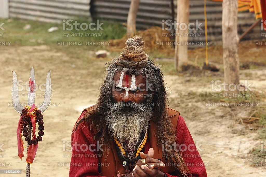 Portrait of an Indian Sadhu in Kumbh Mela - 2013 stock photo