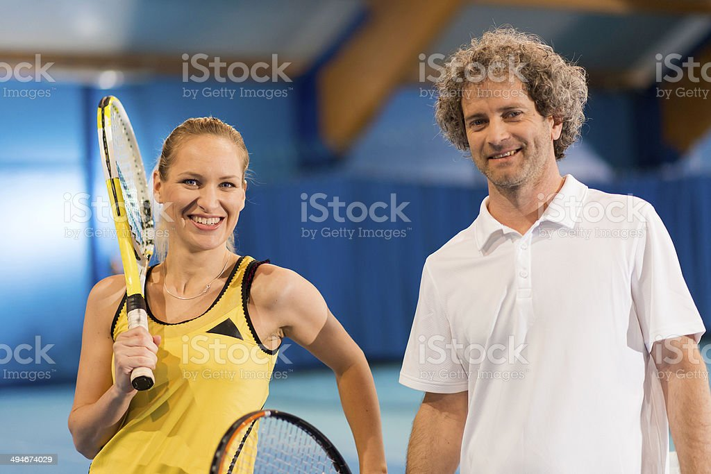 Portrait Of An Indoor Tennis Players stock photo