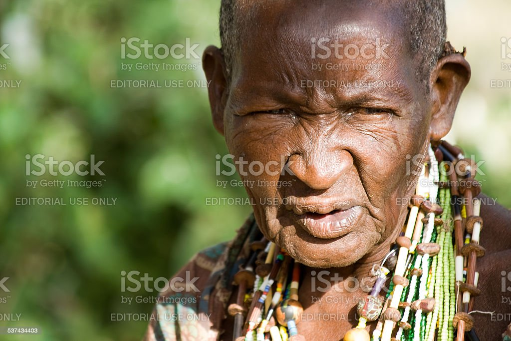Portrait of an old Hadzabe woman. stock photo