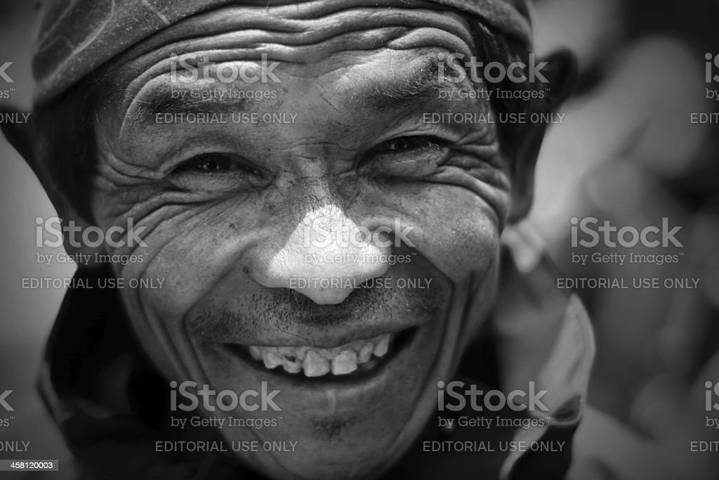Portrait of an old Sherpa. stock photo