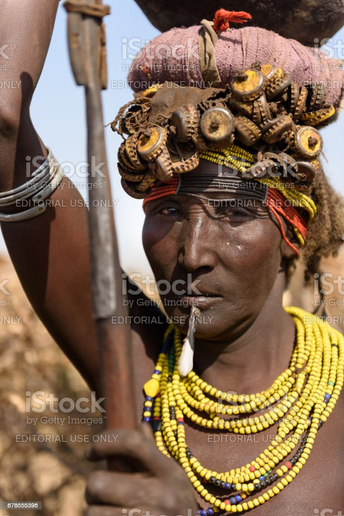 Portrait of an old wman from Dassanech tribe stock photo