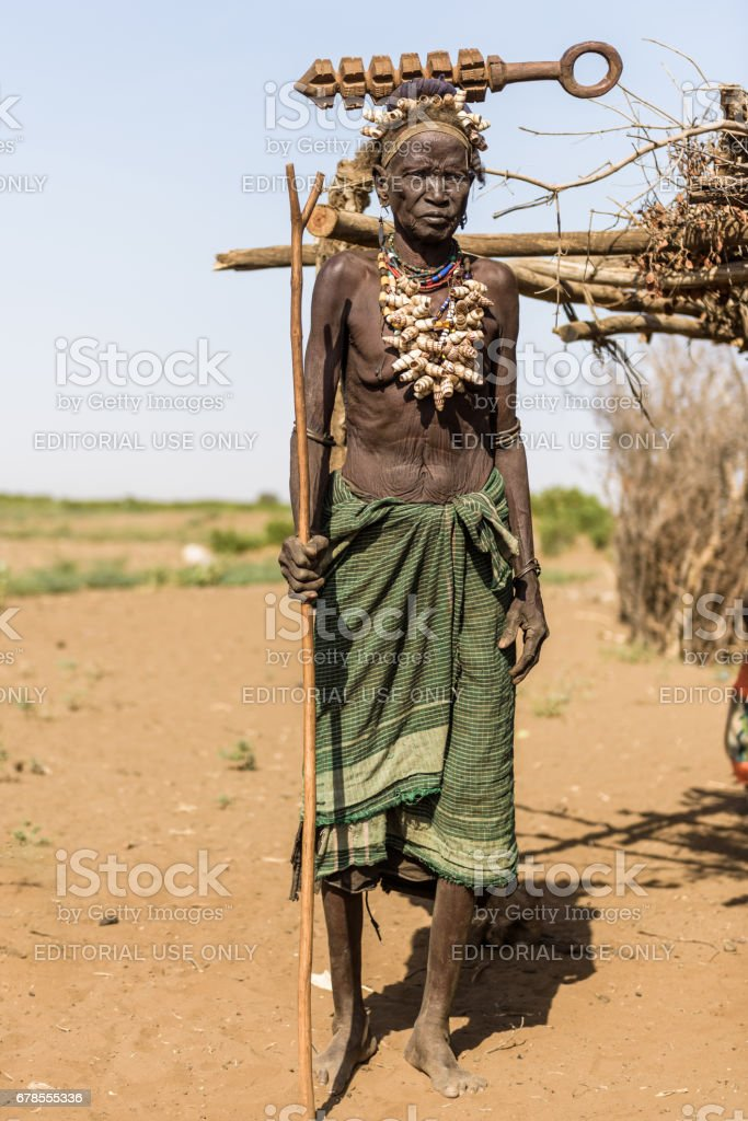 Portrait of an old woman from Dassanech tribe stock photo