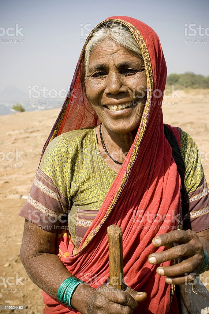 Portrait of an underpreviledged Cheerful Senior Indian lady royalty-free stock photo