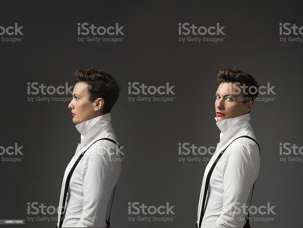 portrait of androgene business woman stock photo