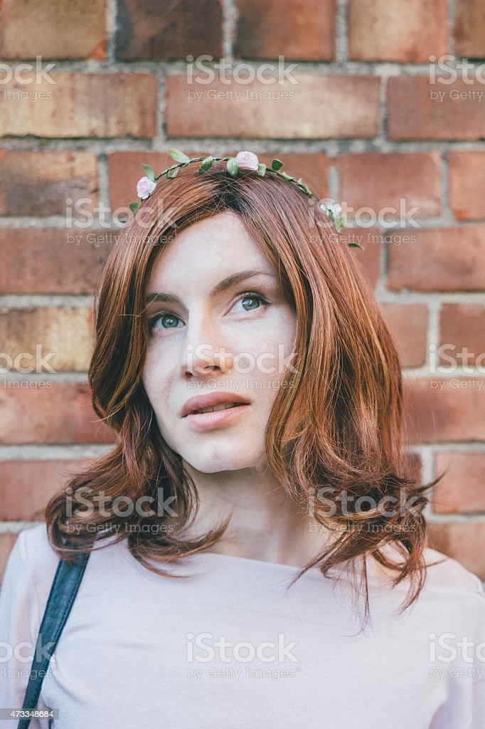 Portrait Of Androgynous Man Crossdressed As Woman stock photo