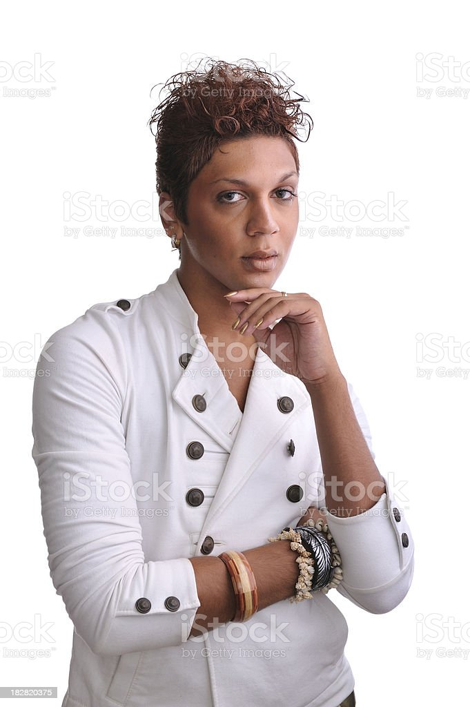Portrait of androgynous man standing stock photo