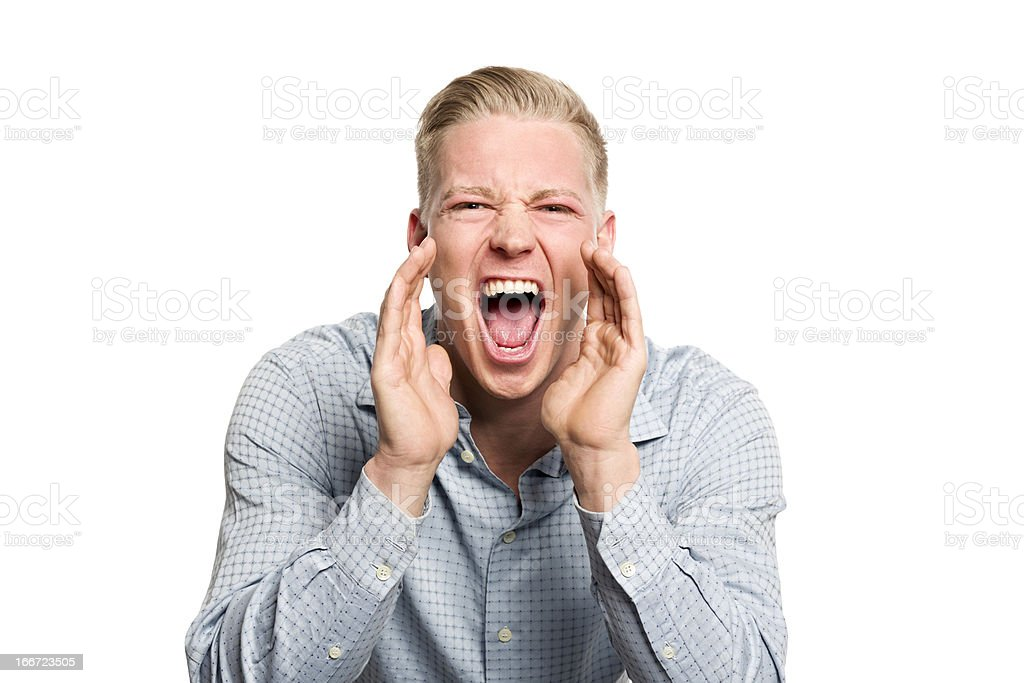 Portrait of angry business person shouting. royalty-free stock photo