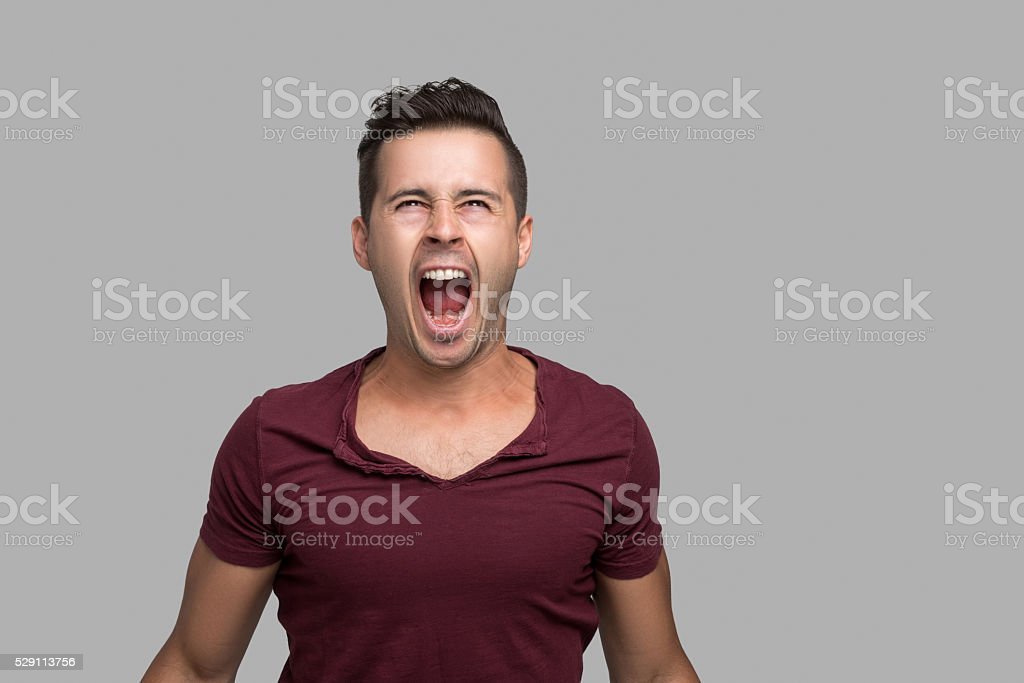 Portrait of angry man stock photo
