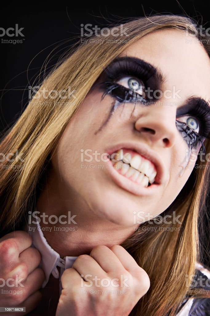 Portrait of Angry Woman Crying with Mascara Running royalty-free stock photo