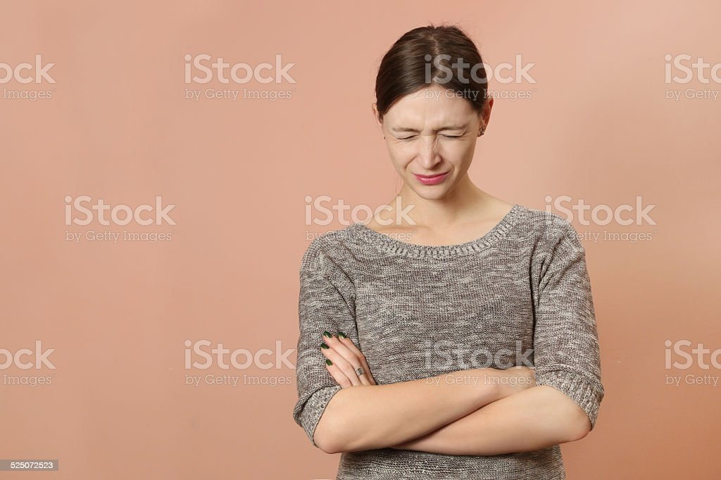 Portrait of angry young woman stock photo