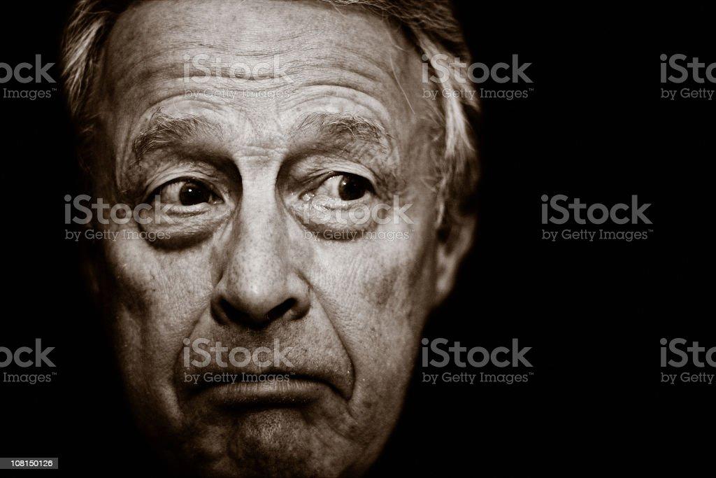 Portrait of Apprehensive Senior Man, Black and White royalty-free stock photo