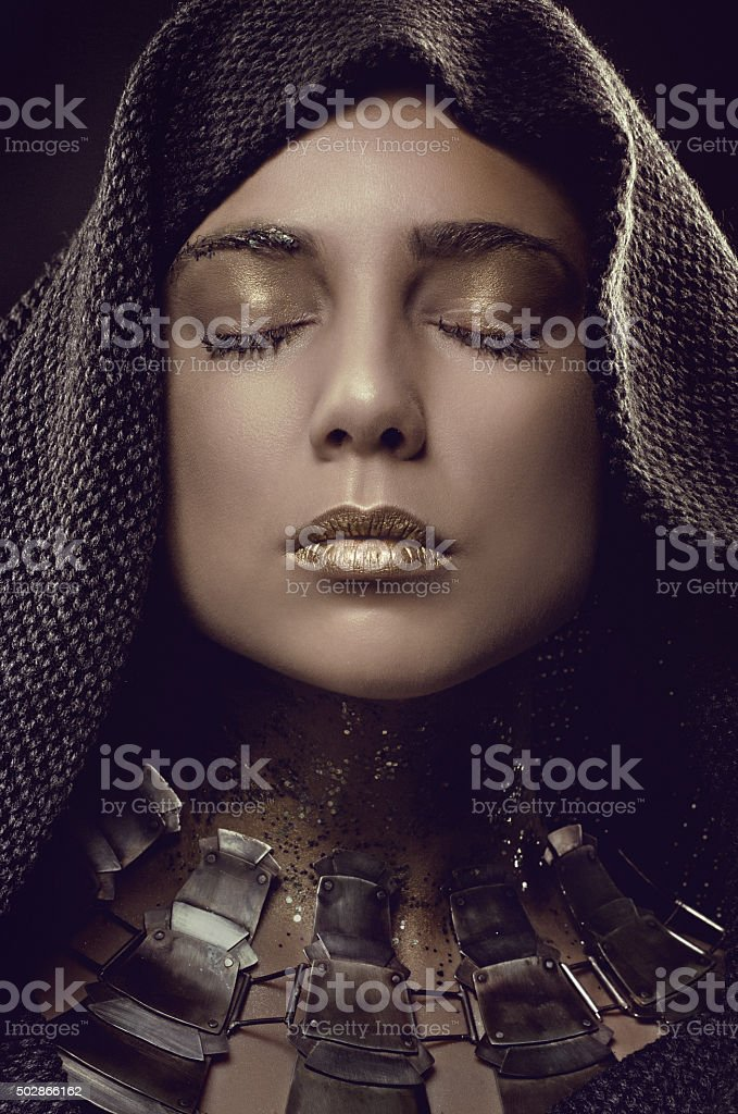 Portrait of arabic woman wearing beautiful jewellery stock photo