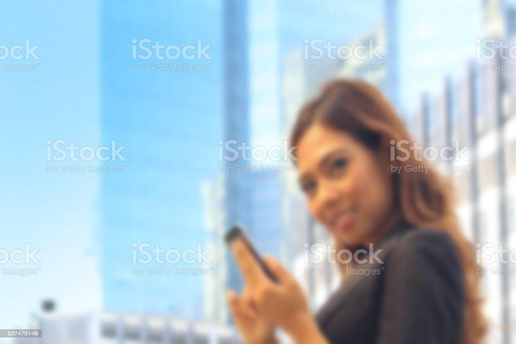 Portrait of Asian business woman on black dress stock photo