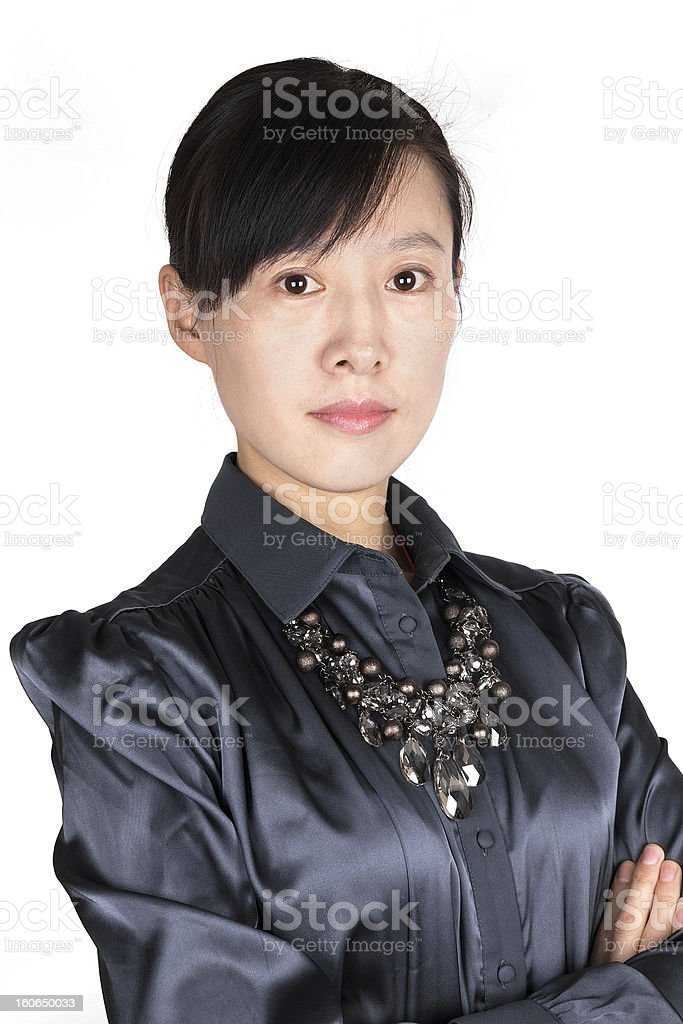 portrait of Asian business woman on white background royalty-free stock photo