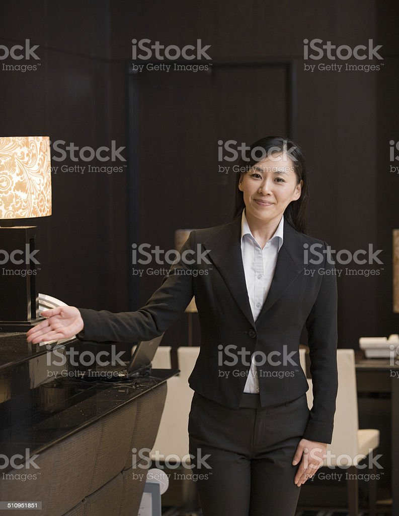 Portrait of Asian Concierge in Hotel stock photo