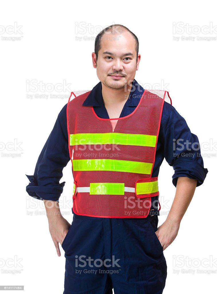 Portrait of Asian construction worker wearing a safety jacket stock photo