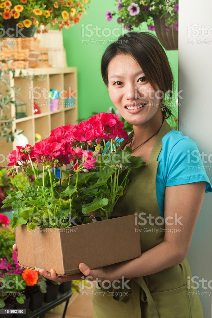 Portrait of Asian Woman Flower Shop Small Business Owner royalty-free stock photo