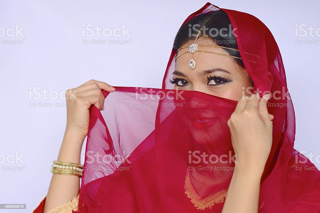 Portrait of Asian woman with Indian look stock photo