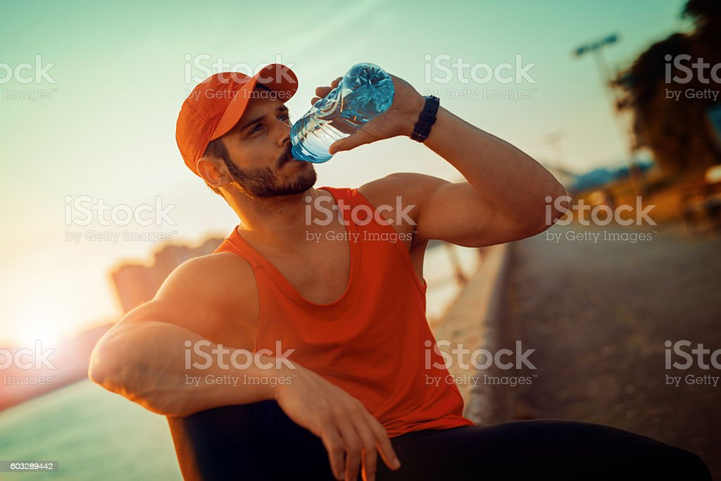 Portrait of athletic man after training stock photo
