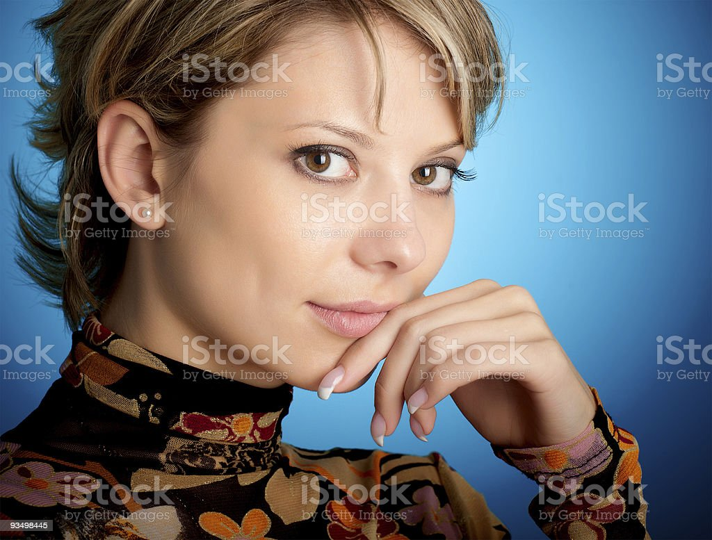 Portrait of attractive blonde girl stock photo