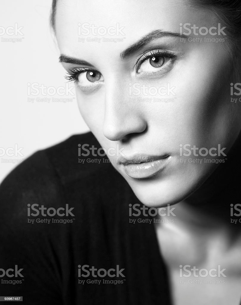 BW portrait of attractive brunette girl royalty-free stock photo
