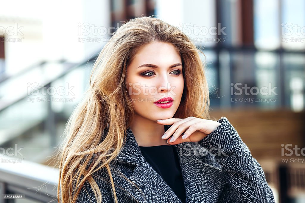 Portrait of attractive business blonde woman stock photo