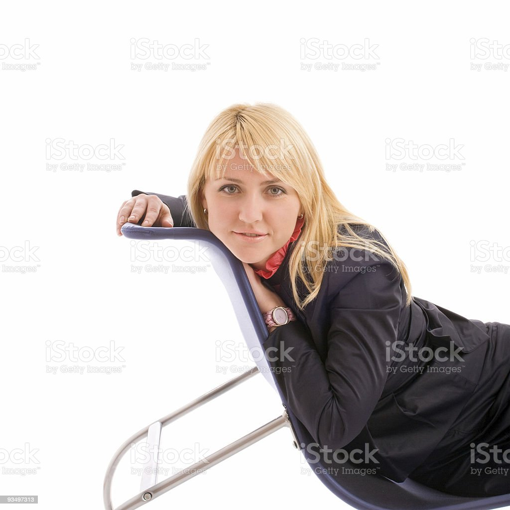 Portrait of attractive businesswoman on chair stock photo