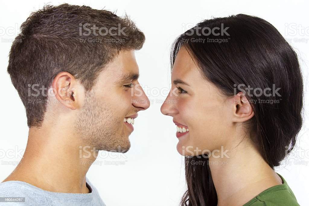 Portrait of attractive girl and her boyfriend royalty-free stock photo