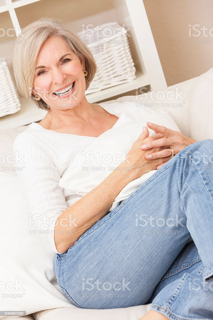 Portrait of Attractive Happy Senior Woman stock photo