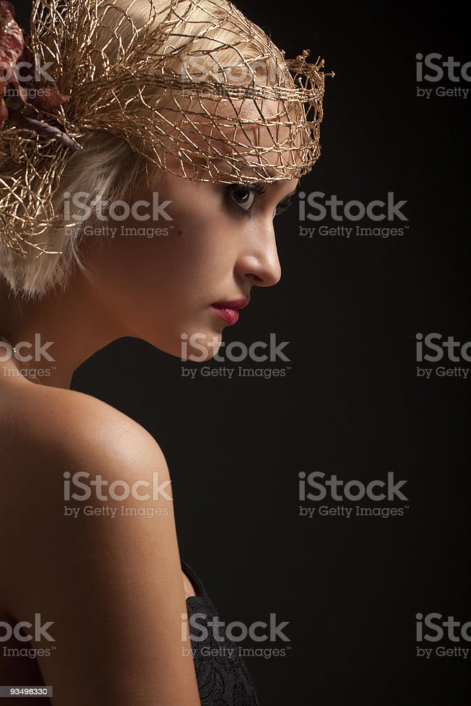Portrait of attractive retro-style girl in bonnet royalty-free stock photo