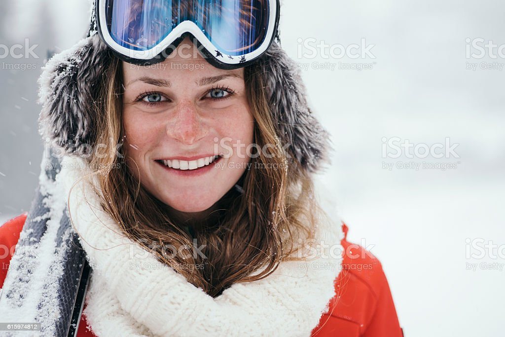 Portrait of attractive skier stock photo