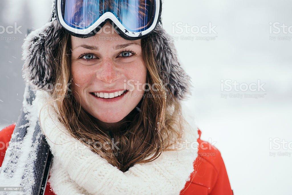 Portrait of attractive skier stock photo
