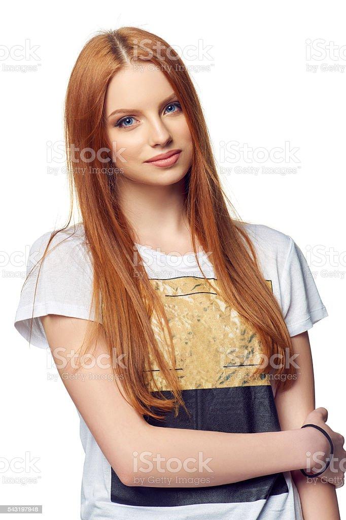 Portrait of attractive teen girl smiling stock photo