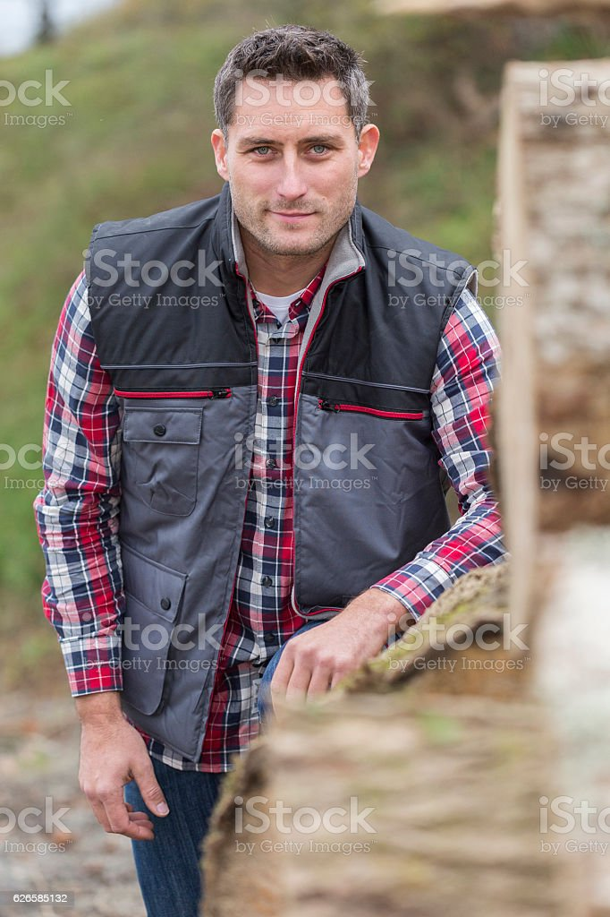 Portrait of attractive woddcutter in her exploitation stock photo