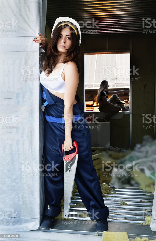 portrait of attractive woman on construction site royalty-free stock photo