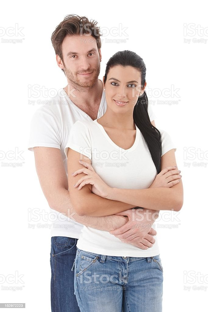 Portrait of attractive young couple smiling royalty-free stock photo