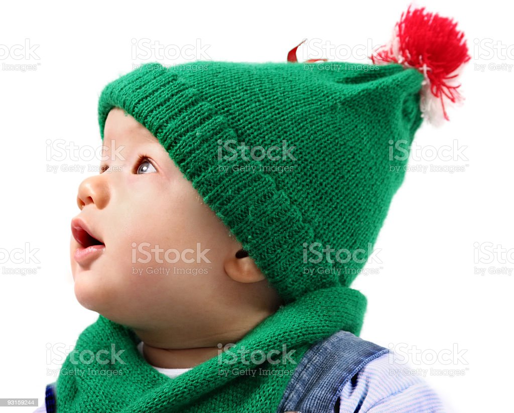 Portrait of baby boy in winter suite royalty-free stock photo